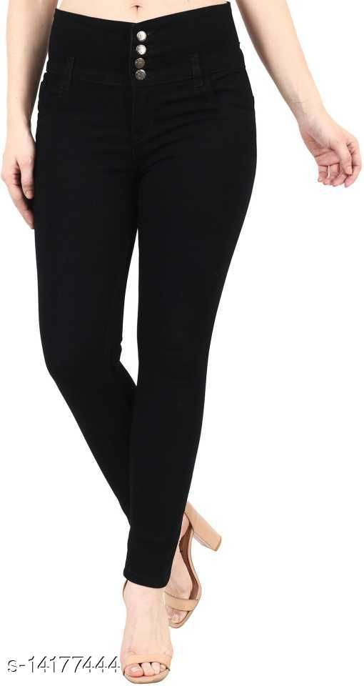 Women Slim Fit Jeans 4 Buttons/ High Waist Girl Jeans