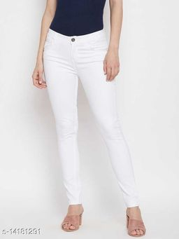 Women Slim Fit Jeans 1 Buttons/ Regular Fit Girl Jeans