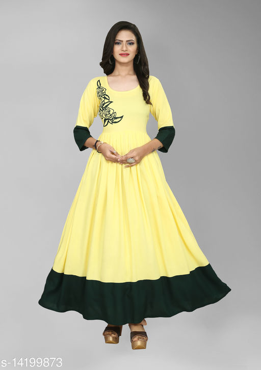 Women Rayon Anarkali Solid Yellow Kurti