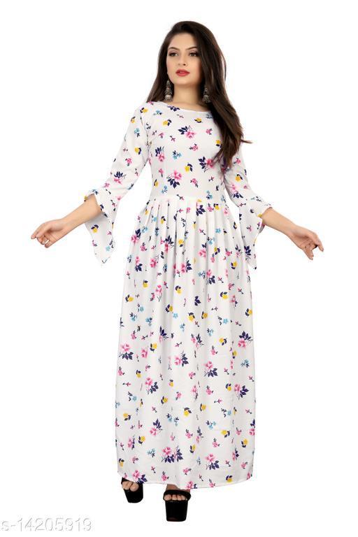 Micozy Floral Print Crepe Blend Stitched Maxi Dress