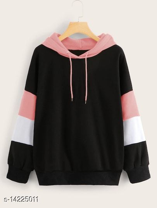 Peach Sleeve Strip Sweatshirt With Peach Cape For Womens