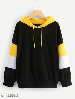 Mustard Sleeve Strip Sweatshirt With Mustard Cape For Womens