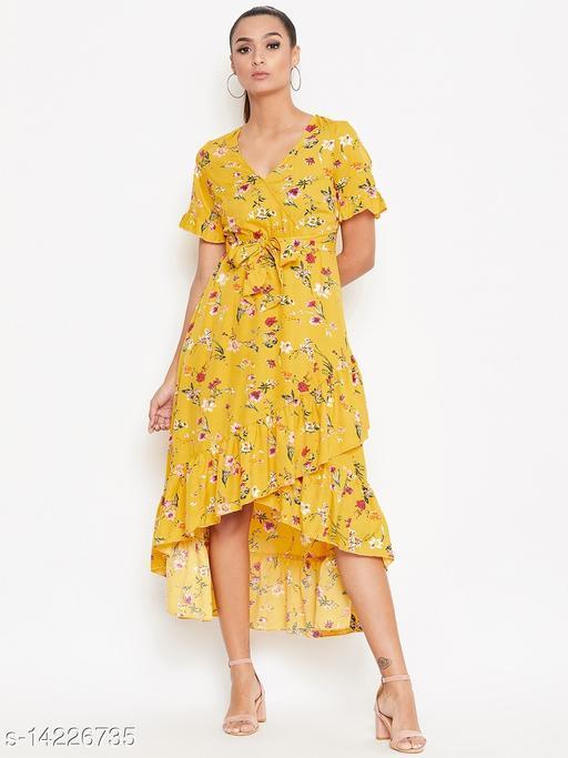 Women Waist Tie Detail Yellow Floral Printed Frilled Hem High Low Dress
