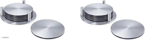 Stainless Steel Round Coaster Set- 2 Sets ( Each of 6 coasters)