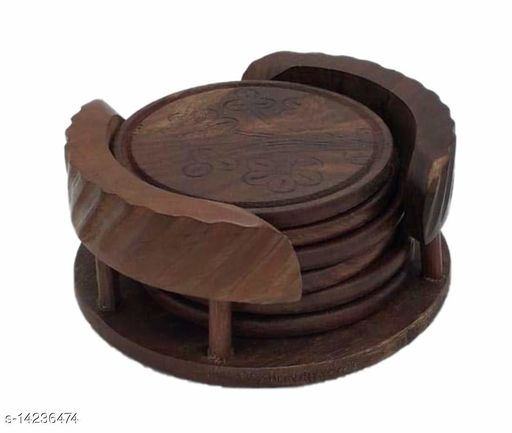 Wooden Coasters for hot/Cold Drink, Decorative Coaster Set for Dining/Tea/Coffee Table.(Set of 6)