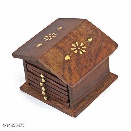Handmade Wooden hut Shape Coaster/Tea Coaster/Coaster Set/Dining Table/Coaster Set of 6 Sheesham Wood