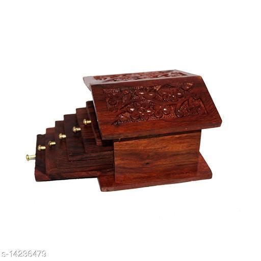Wooden Hut Shape Coaster