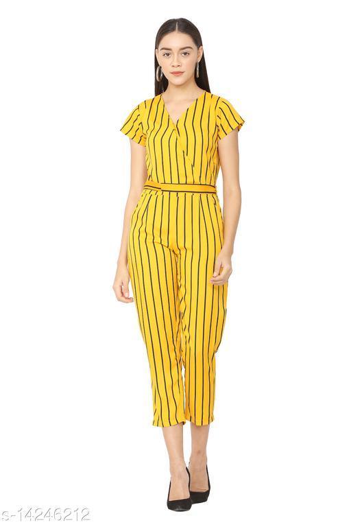 USA Fantasy Women's Yellow Striped Jumpsuit