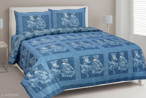 Cotton  Printed Design Premium Double Bed Sheet with 2 Pillow Covers
