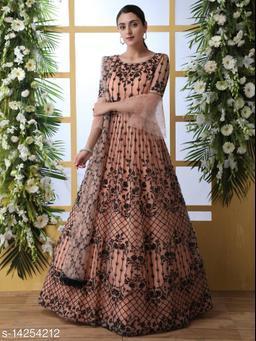 MATMA FASHION  Net fabric Anarkali Peach Semi Stitch Gown