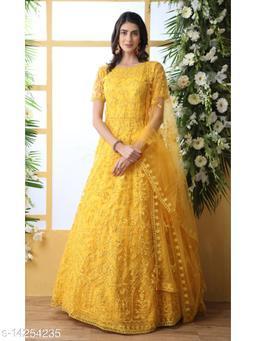 MATMA FASHION  Net fabric Anarkali Yellow Semi Stitch Gown