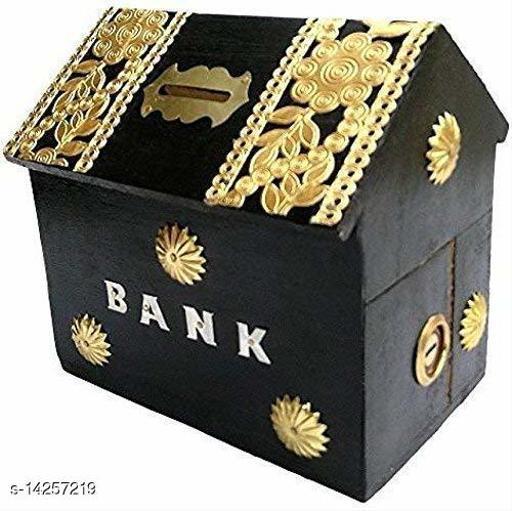 Wooden Black Hut Coin Bank
