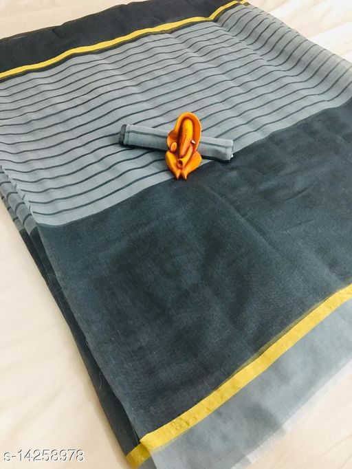 Special Poly Cotton Grey Color Saree With Striped Line Work