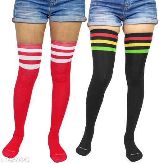Neska Moda Women's 2 Pair Striped Cotton Thigh-High Stockings (Red, Black)