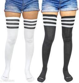 Neska Moda Women's 2 Pair Striped Cotton Thigh-High Stockings (Black, White)