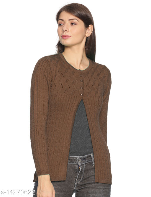 Oswal Women Knitted Regular Fit Round Neck Full Sleeve Self Design Winter 4 Button Style Cardigans Tambacco