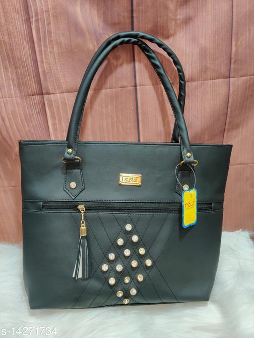 Trendy Women's Black PU Handbag