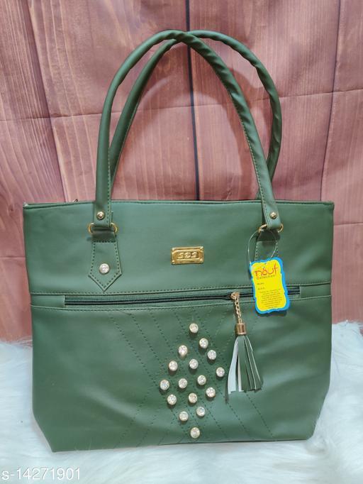 Trendy Women's Green PU Handbag
