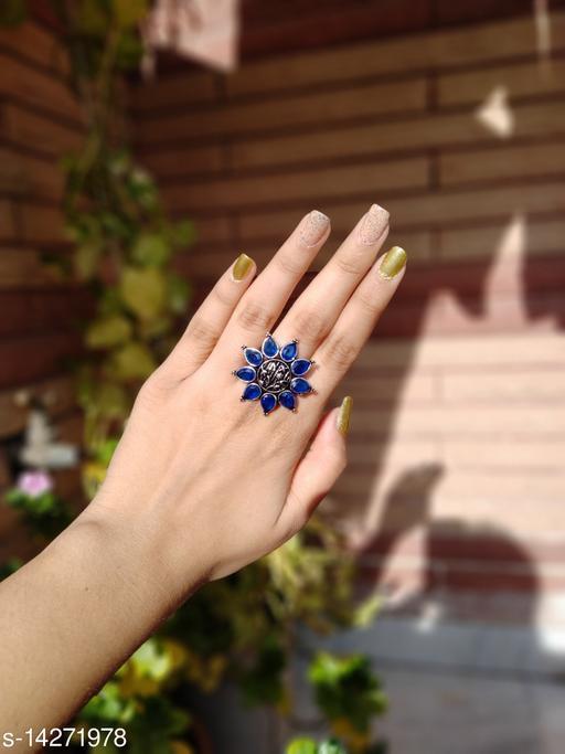 Beautiful Oxidised Stone Finger Ring- Navy blue