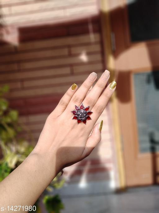 Beautiful Oxidised Stone Finger Ring- Orangish Maroon