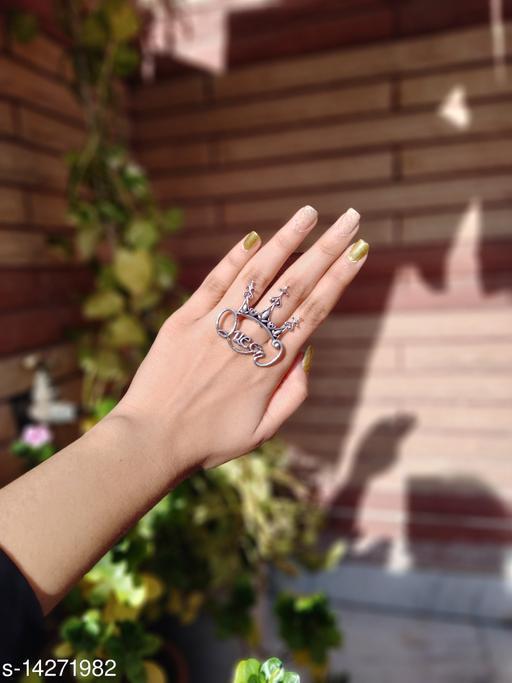 Premium Brass Oxidised Finger Ring- Queen