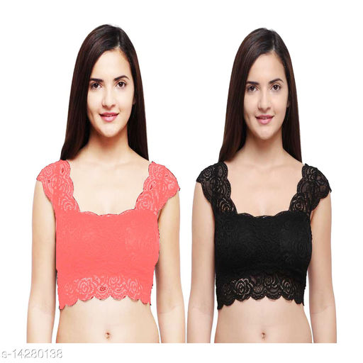 Snappy Dresser's Net Removable Padded Black & Pink Bra Cum Blouse pack of 2