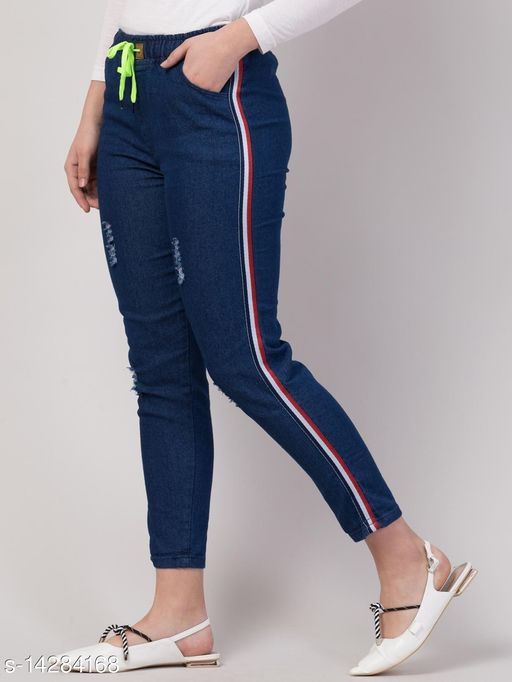 Ira Stylish Side Striped Jeans For Women