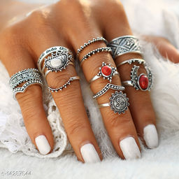 Jewels Galaxy Exclusive Vintage Style Antique Silver Trendy Rings For Women/Girls - Set of 14 ( Mix Sizes)