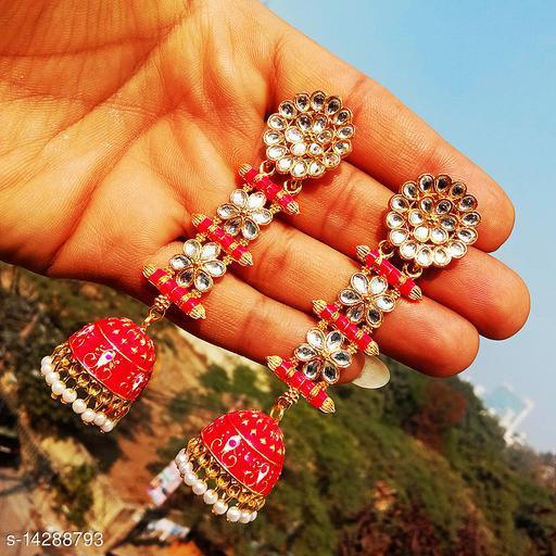 designer long jhumka earrings for women Kundan jhumki for party wear red color jhumki