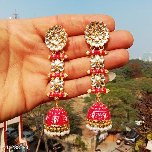 designer long jhumka earrings for women Kundan jhumki for party wear pink color jhumki