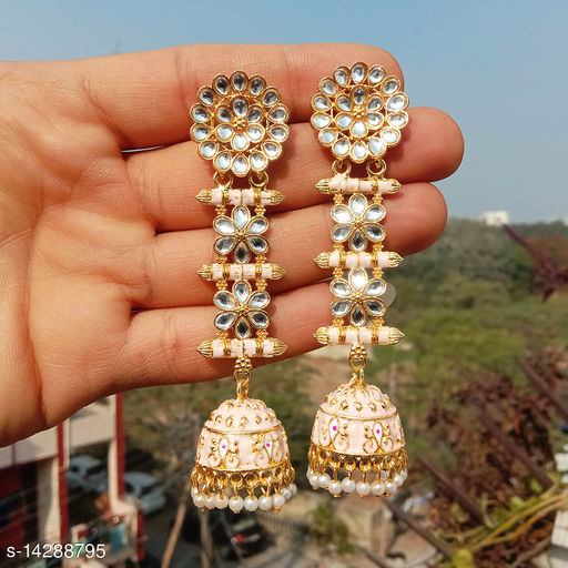 designer long jhumka earrings for women Kundan jhumki for party wear peach color jhumki