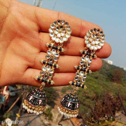 designer long jhumka earrings for women Kundan jhumki for party wear black color jhumki