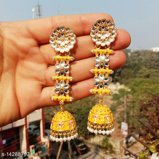 designer long jhumka earrings for women Kundan jhumki for party wear yellow color jhumki