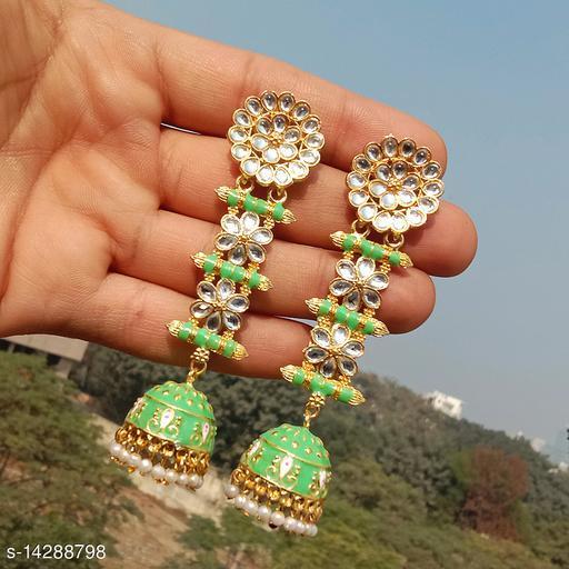 designer long jhumka earrings for women Kundan jhumki for party wear lightgreen color jhumki