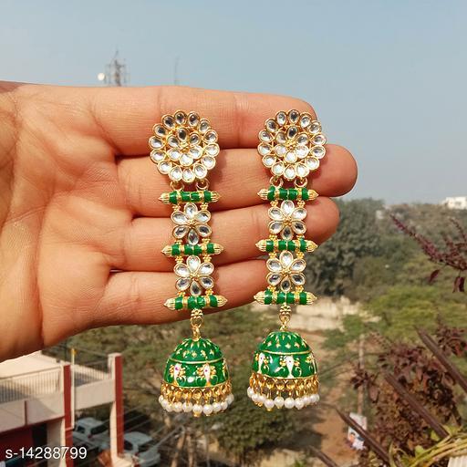 designer long jhumka earrings for women Kundan jhumki for party wear darkgreen color jhumki