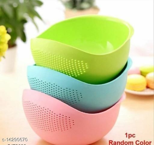 NSS Rice Pulses Fruits Vegetable Noodles Pasta Washing Bowl & Strainer (Multicolor)
