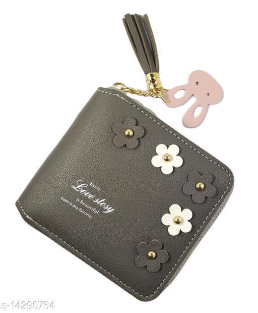 Trendy Women's Grey Leather Wallet