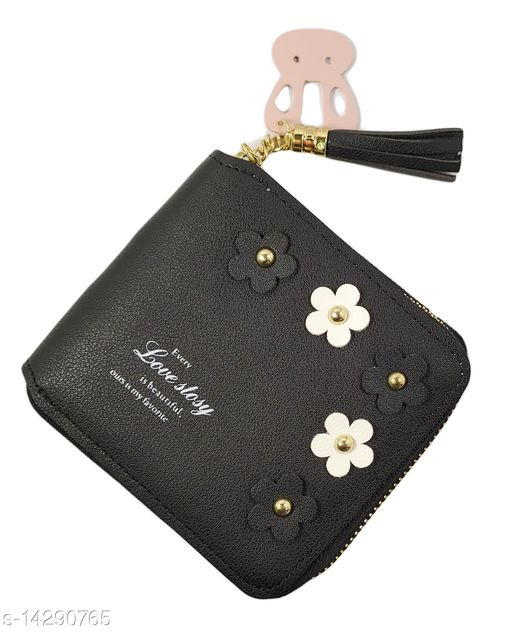 Stylish Women's Black Leather Wallet