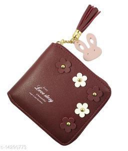 Beautiful Women's Maroon Leather Wallet