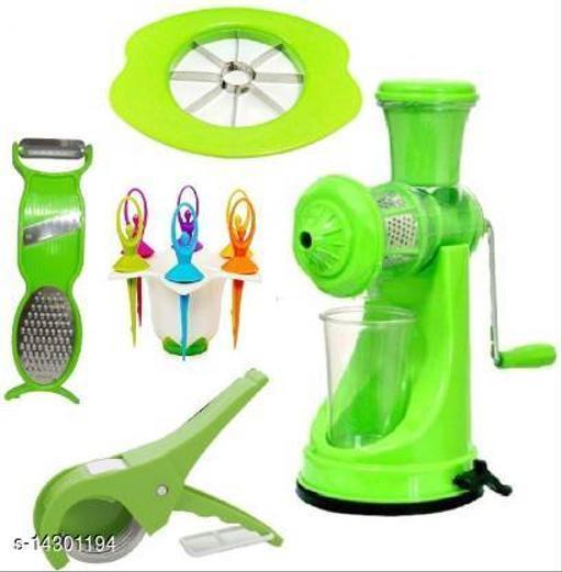 Plastic Hand Juicer Super Combo of Vegetable Cutter + Apple Cutter + 3in1 Peeler + Fruit Fork + Prime Manual  (Green Pack of 5)