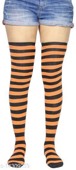 Neska Moda Women's 1 Pair Striped Cotton Thigh-High Stockings (Orange, Black)