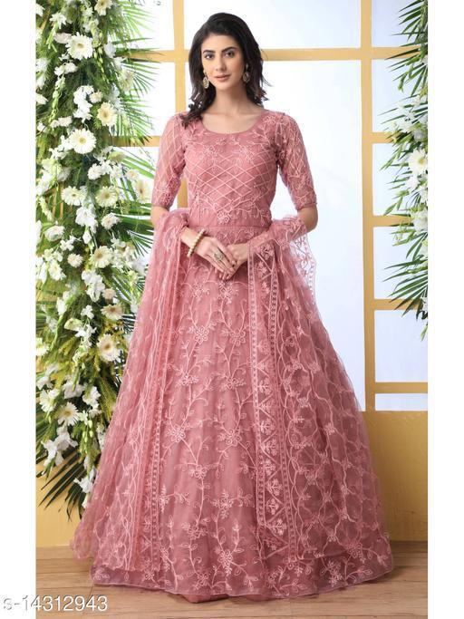 Bollyclues Net fabric Anarkali Pink Semi Stitch Gown