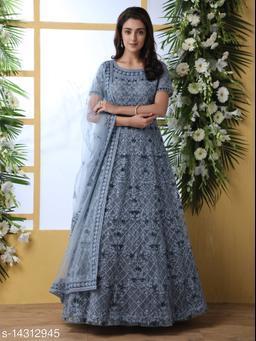 Bollyclues Net fabric Anarkali Grey Semi Stitch Gown