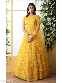 Bollyclues Net fabric Anarkali Yellow Semi Stitch Gown