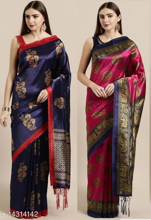 GoSriki Blue & Pink Color art silk printed saree's combo of 2 (Jannt Blue & Sundaram Pink)