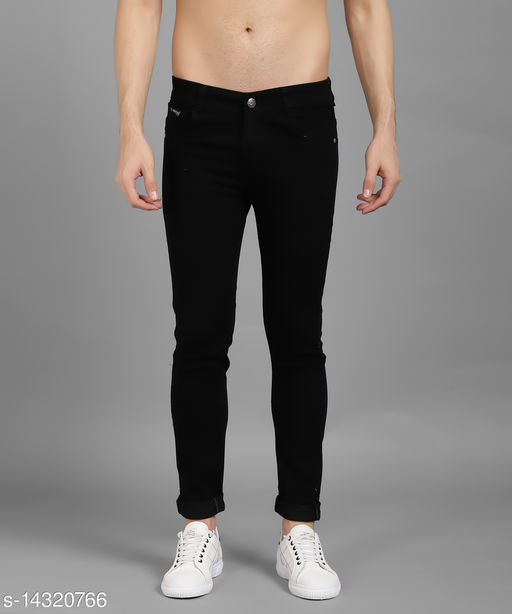 UNITED DENIM Men's Denim Solid Black Jeans