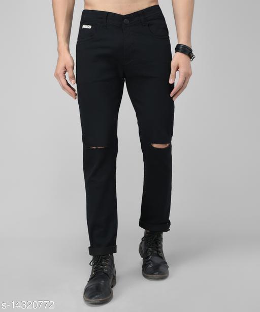 UNITED DENIM Men's Solid Black Knee Cut Jeans