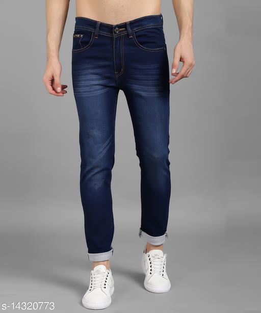 UNITED DENIM Men's Denim Solid Dark Blue Jeans
