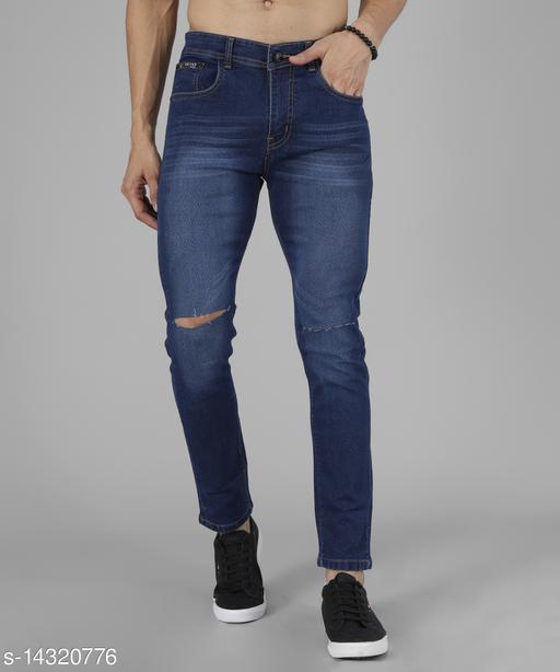 UNITED DENIM Men's Solid Blue Knee Cut Jeans