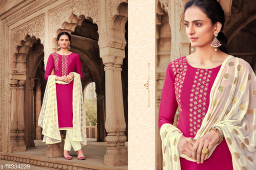 Trendy Silk Embroidered Dress Material